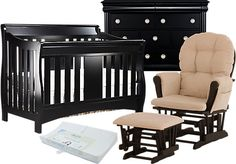 Shop for a Oberon Crib Black 4Pc Nursery Bedroom at Rooms To Go Kids. Find  that will look great in your home and complement the rest of your furniture.
