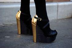Gold & Black - Compensé - Chaussures