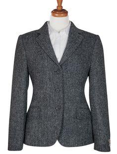 ladies grey herringbone harris tweed hacking jacket
