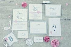 "Free editable wedding printables, including: ~save the dates ~invites ~rsvp cards ~place cards ~""bride"" banner ~""groom"" banner ~""just married"" banner ~dessert toppers ~food cards ~favor tags"