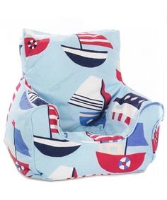 A lovely child's size Bean Chair in Sailboat Light Blue Fabric Baby Bean Bag Chair, Outdoor Bean Bag Chair, Bean Chair, Childrens Bean Bags, Bean Bag Design, Blue Fabric, Baby Blue, Baby Car Seats, Baby Kids