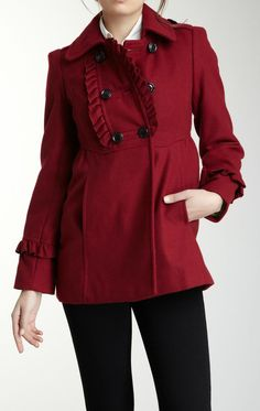 Kensie | Ruffle Front Double Breasted Peacoat