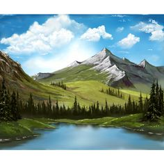 bob ross forest lake landscape mountain nature scenery sky teku ❤ liked on Polyvore