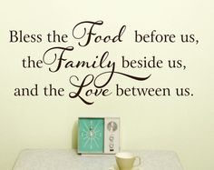 Kitchen Wall Decal - Bless this Food Wall Decal Before Us Vinyl Wall Decal - Kitchen Decor Wall Art on Etsy