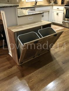 Free Ship tilt out trash bin double stain recycle (D-GO) Diy Kitchen, Kitchen Decor, Kitchen Design, Do It Yourself Quotes, Trash Can Cabinet, Kitchen Trash Cans, Trash Bins, Trash And Recycling Bin, Diy Desk