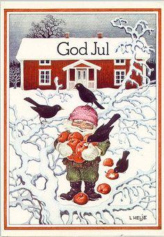 Artwork by Lennart Helje Swedish Christmas, Christmas Gnome, Merry Christmas And Happy New Year, Scandinavian Christmas, Christmas Cards, Magical Creatures, Fantasy Creatures, Christmas Illustration, Illustration Art