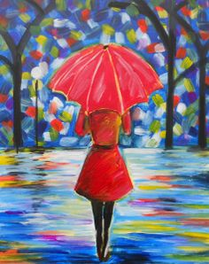 PINOT's palette! THIS IS MINE! A peaceful moment on a walk home in a slight drizzle with pools of rain on the ground reflecting bright colors from the surrounding environment. This woman could be anyone, your mother, friend, sister, or even you! We encourage people to customize her outfit to whatever colors they like.
