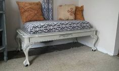 s 10 surprising ways to turn old furniture into extra seating, painted furniture, After A cushioned and comfy bench Funky Junk Interiors, Sleigh Bed Frame, Old Bed Frames, Crate Bench, Diy Bench, Old Furniture, Outdoor Furniture, Painted Furniture, Furniture Ideas