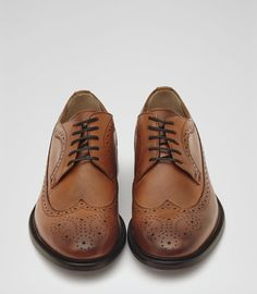 Mens Tan Longwing Leather Brogues - Reiss Ash