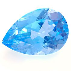 Medium blue Topaz portuguese pear, weighing 6.83cts. Pure topaz may be colourless and, when brilliant-cut, has been mistaken for diamond. It may also be coloured various shades of yellow, blue, or brown; the colour in many cases is unstable, and the brown topazes of Siberia are particularly liable to be bleached by sunlight. Although most topaz is naturally white or light yellow, it is commonly irradiated to produce the popular sky or swiss blue colors. More @ www.multicolour.com and…