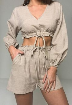 Missguided - Stone Co Ord Linen Look Crop Top Look Fashion, Fashion Outfits, Womens Fashion, Cute Casual Outfits, Summer Outfits, Mode Jeans, Mein Style, Looks Chic, Fashion Sewing