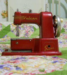 Red Vulcan Senior Toy Sewing Machine by DaisysVintageAffair, $15.00