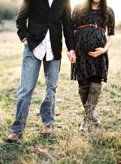 maternity photos black lace dress and jeans + suit in a field...
