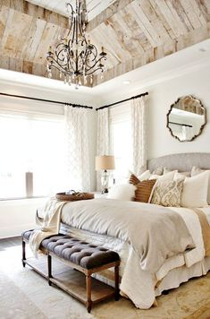 Modern Bedroom Design Ideas for a Dreamy Master Suite - jane at homeGorgeous bedroom with four poster canopy bed and beaded chandelier Lindye Galloway bedroom designStoughton Standard Bed Confortable Farmhouse Master Bedroom Decoration Coastal Master Bedroom, Coastal Bedrooms, Farmhouse Master Bedroom, Master Bedroom Design, Home Decor Bedroom, Modern Bedroom, Bedroom Furniture, Comfy Bedroom, Furniture Design