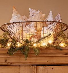 Seashells nestled in wire basket with greens and white lights