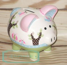 SMALL Hayley pottery barn artisan hand painted ceramic personalized piggy bank by Alphadorable, $54.00
