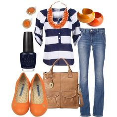 Blue jeans, orange flats , navy blue and white top,orange and gold necklace,brown bag,orange earrings, navy blue nail polish