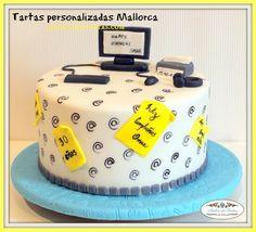 Fondant Toppers, Fondant Cakes, Dad Birthday, Birthday Cake, Computer Cake, Iphone Cake, Bolo Youtube, Birthday Captions, Fathers Day Cake