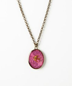Take a look at this Raspberry & Gold Patina Brocade Birdie Pendant Necklace by Fringe Studio on #zulily today!