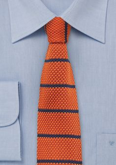Persimmon Orange Silk Knit Tie with Blue Stripes | $15 at Cheap-Neckties.com