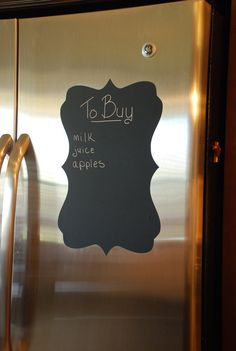 """Need a place to write down your shopping list but limited on space? How a Adhesive Chalkboards. Boards measure approximately 12"""" x 17"""" and can be placed in either direction. Four different styles to choose from.     So easy to use! Perfect on your fridge, inside pantry, utility room, back of door or anywhere you need a chalkboard. Ideal for a college dorm for back to school! for pantry"""