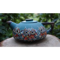 Teapot Owls Clay teapot Teapot earthenware Ceramic pottery Green... (945 UAH) ❤ liked on Polyvore featuring home, kitchen & dining, teapots, green tea teapot, hot tea pot, ceramic teapots, clay teapot and owl tea pot