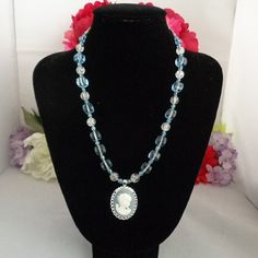 """ON SALE! Baby Blue Beaded Cameo Choker Set in Silvertone with a Blue and White Cameo Pendant 18 """" + size of the Cameo. Read about Cameos on our blog at www.CCCsVintageJewelryBlog.com and see more pictures at www.CCCsVintageJewelry.com. Free Shipping to the US ONLY via USPS First Class Mail. Sale ends 1/31. There are many beautiful cameos on sale. Check them out. Make it an amazing day! Best, CC"""