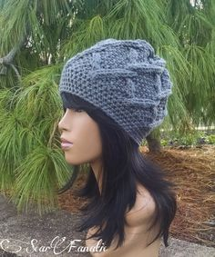 MADE TO ORDER Grey hand knit cabled beanie slouch hat and free matching crochet  earrings (not pictured)  Scarf sold separately ooak f5b3a5382862
