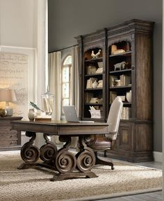 Hooker Furniture has been an industry leader for quality bedroom sets, dining room sets, living room furnishings, and home office furniture for over 90 years. Rustic Home Offices, Rustic Office, Office Decor, Rustic Desk, Wooden Desk, Home Office Desks, Home Office Furniture, Office Table, Office Spaces