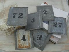 House Address Number ~ Zinc Galvanized plaque ~ DIY?? Metal Stamp, then Paint