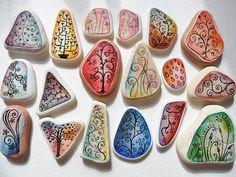 Delicate  dainty, funky  chunky hand painted sea beach pottery - Miniature art | eBay