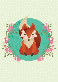 Retro animal vector illustrations on Behance by Charlotte Marrion Belle Y Boo, Fantastic Mr Fox, Fox Illustration, Cute Fox, Fox Art, Vector Art, Vector Illustrations, Woodland Creatures, Spirit Animal