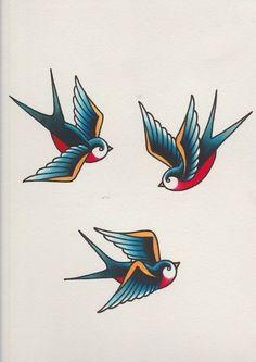 How to Draw a Group of Swallows in a Retro Tattoo Style tattoos Retro Tattoos, Trendy Tattoos, Rockabilly Tattoo Designs, Rose Tattoos, Arm Tattoos, Body Art Tattoos, Sleeve Tattoos, Tatoos, Temporary Tattoos