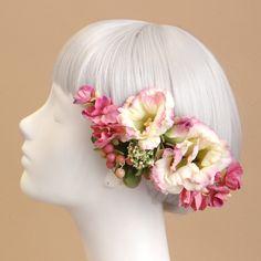髪飾り・ヘッドドレス/トルコキキョウの髪飾り(ピンク) - ウェディングヘッドドレス&花髪飾りairaka