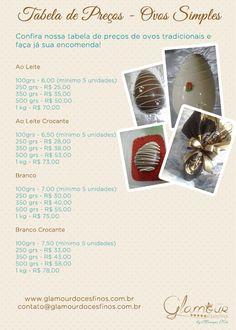 Tabela Ovos de Páscoa Simples 2016 Chocolates, Nutella, Candy House, Easter Recipes, The Duff, Confectionery, Food Hacks, Food Art, Mousse