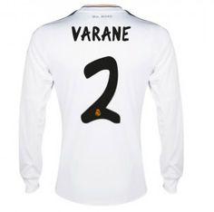 13/14 Real Madrid Manica Lunga Calcio Maglia # 2 Varane Maglia Bianca