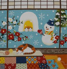 Small Size Cotton 'Kotaro the Cat and Snowman' by kyotocollection