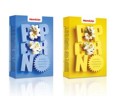 Love the #type treatment on this popcorn packaging for the Swedish grocery store Hemköp.