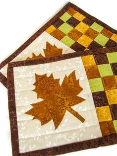 Quilted Fall Mug Rugs - Set of Two; Autumn Snack Mats; Thanksgiving Trivets; Maple Leaf Mug Rug - #afflink