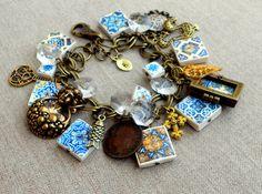 Portugal 17th Century Gold Blue Antique Azulejo Tile by Atrio, $95.00