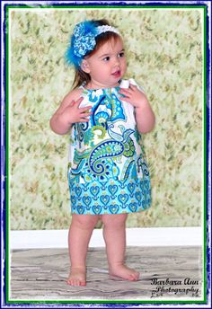 Pillowcase Dress Pretty as a Peacock  FREE by BoutiqueElliEtte, $23.95