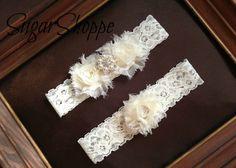 Ivory Pearl Rhinestone Wedding Garter Set by sugarshoppe on Etsy, $21.00