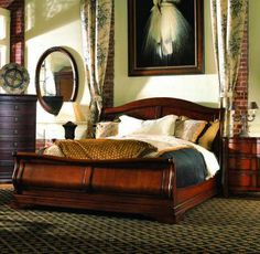 320 367/368/369 Sleigh Bed, King. Also Available In Queen