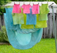 DIY dip dye project with shirts and bed sheets