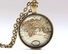 Map chain Old map charm Antique jewelry RO923 by UKnecklace