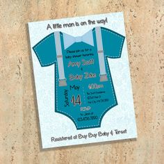 A little man is on the way baby shower invitations. Printed on matte high-quality photo card stock. Fits into a standard A2 envelope (so it