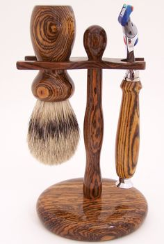 Bocote Wood 24mm Silvertip Badger Brush, Fusion Razor and Stand Shaving Set (Handmade in USA). $199.99, via Etsy.