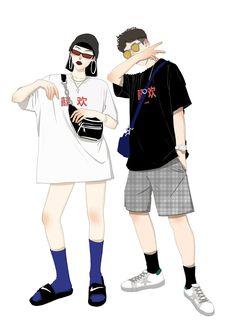 Character Art, Character Design, Arte Sketchbook, Cute Couple Art, Hip Hop Art, Couple Drawings, Fashion Couple, Boy Art, Fashion Art