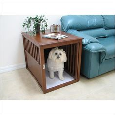Crown Pet Products Pet Crate Table made with Eco-Friendly Rubberwood - CRATE
