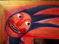 doteky zrcadlo v dřevěném rámu malované akrylovými barvami 25 x 25 cm(Bára)